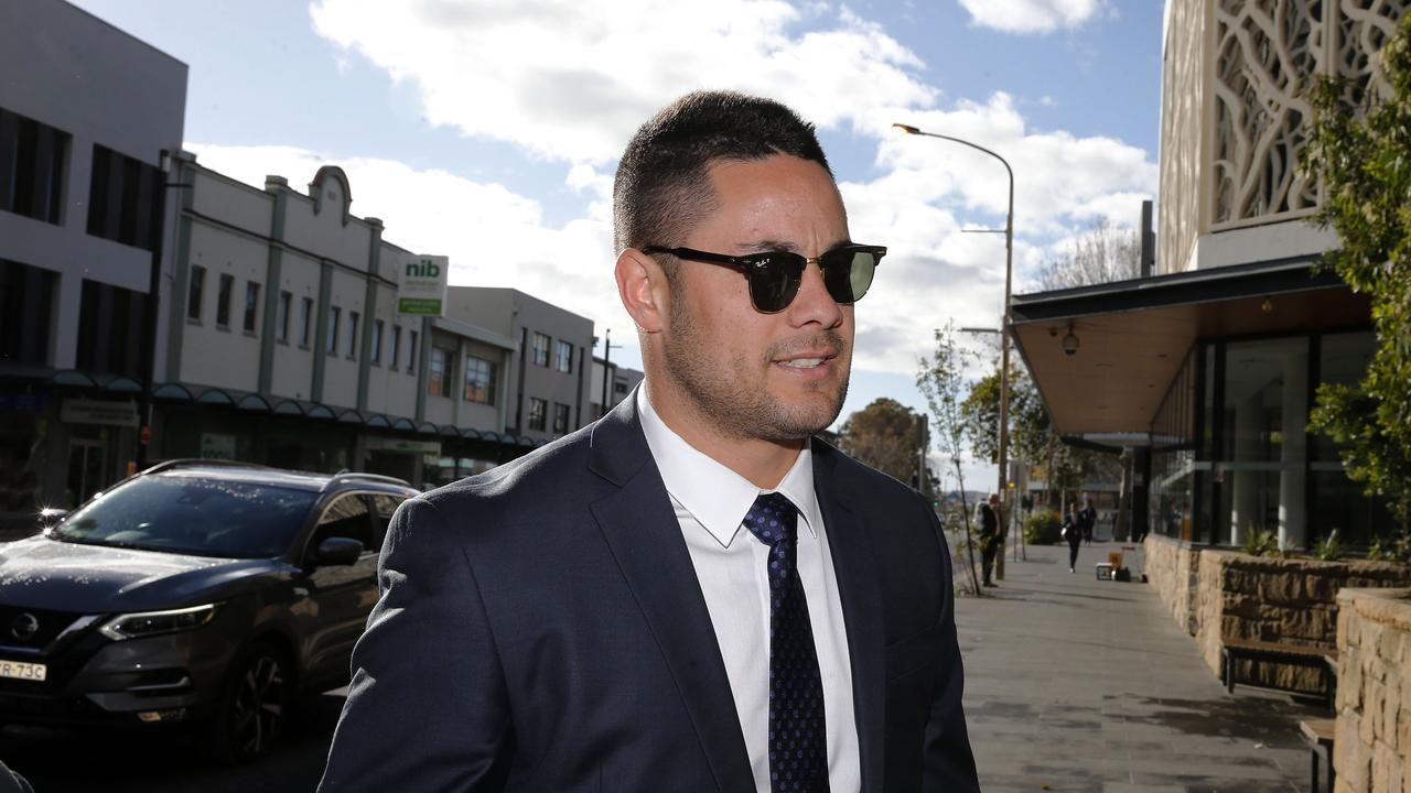 Jarryd Hayne arrives at Newcastle Local Court for a hearing in June, 2019. (AAP Image/Darren Pateman)