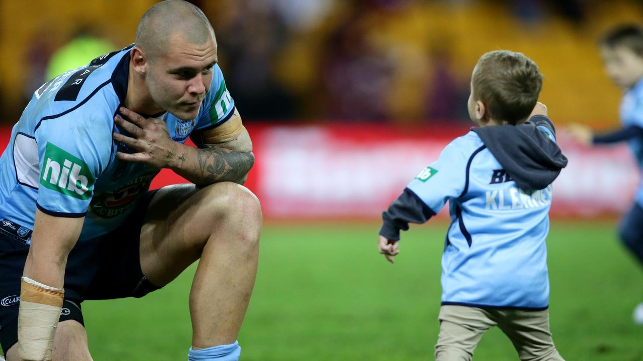 NSW prop David Klemmer with son.