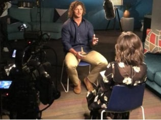 Nick Cummins cops a grilling from Lisa Wilkinson. Source: Channel 10
