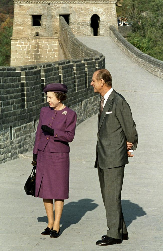 Queen Elizabeth II visits the Great Wall of China with Prince Philip. Picture: AFP
