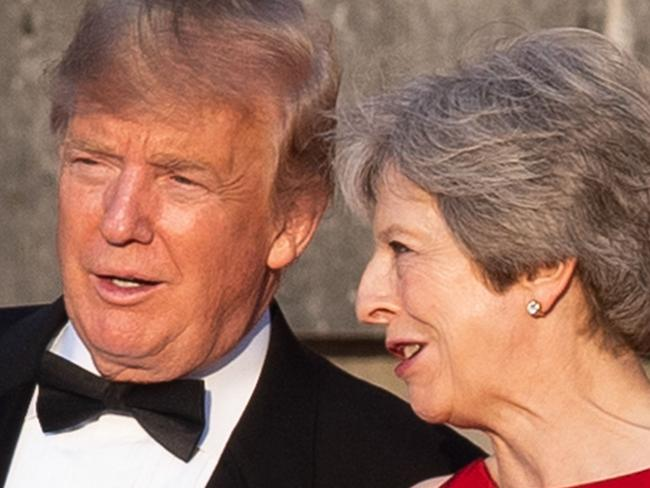 (L-R) US President Donald Trump and Britain's Prime Minister Theresa May (R). Picture: AFP