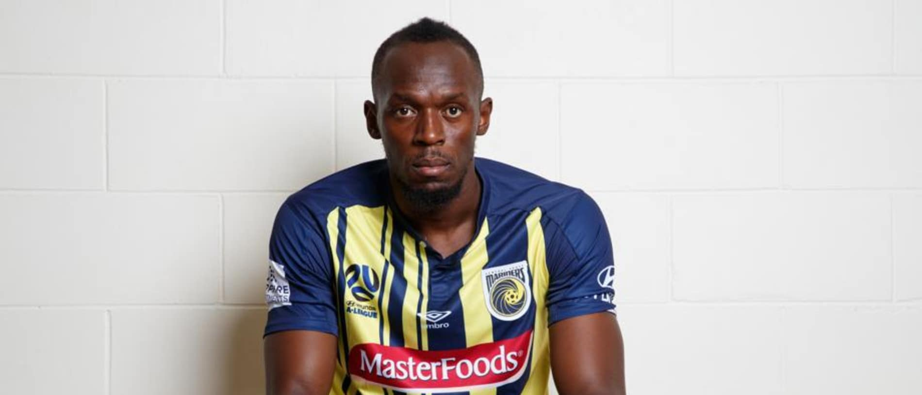 Usain Bolt pictured in Central Coast Mariners uniform at their Tuggerah training ground today. Picture: David Swift.