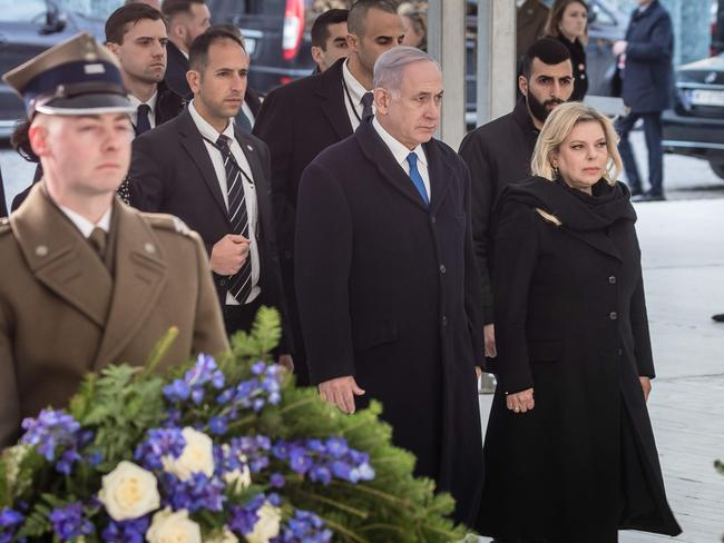 Israeli Prime Minister Benjamin Netanyahu and his wife Sara in Warsaw, Poland. Picture: AFP
