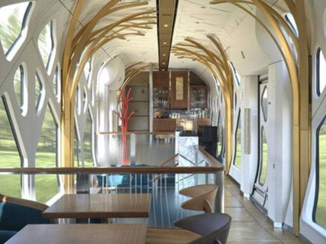 Not a bad place to get a drink. Japan's new Shiki-shima luxury train will get you from Tokyo to Hokkaido in style. Picture: JR East