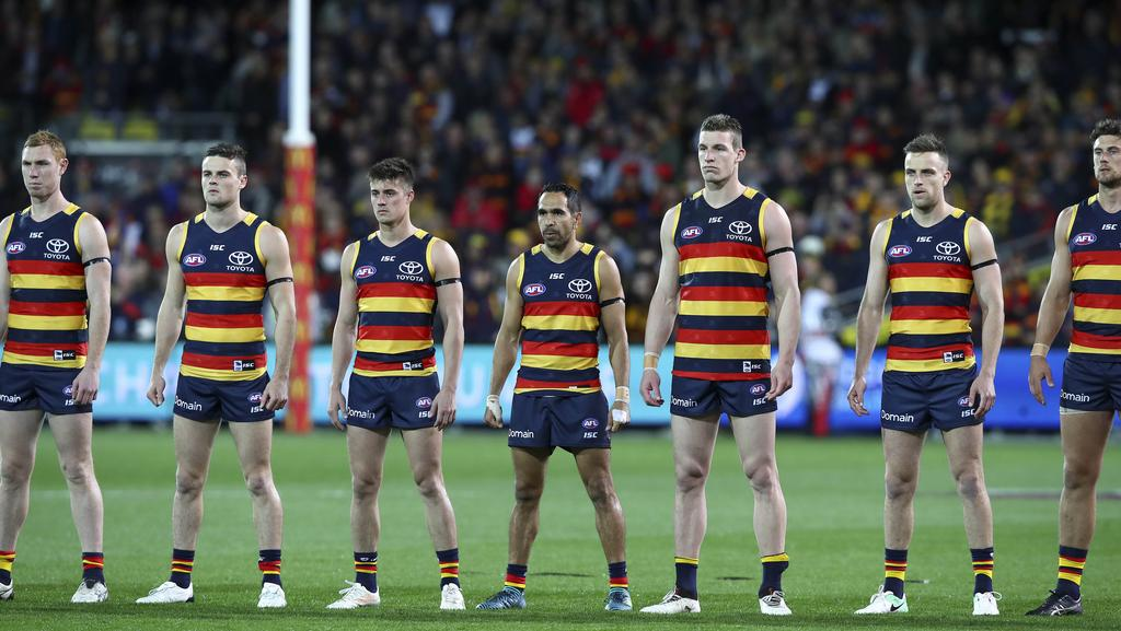 The Crows Stand For The National Anthem Against Gws Picture Sarah Reed
