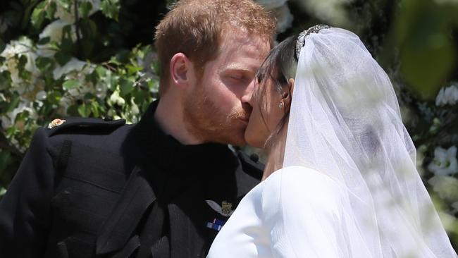 Prince Harry and Meghan Markle tied the knot surrounded by white roses — Diana's favourite flower. Picture: Photo credit: WPA Pool/MEGA
