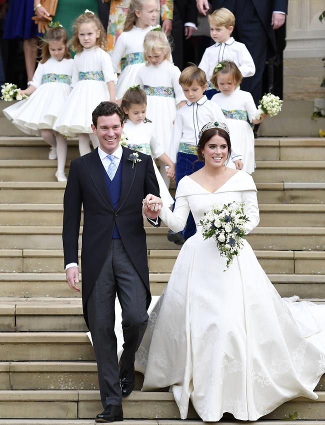 Princess Eugenie of York and her husband Jack Brooksbank leave after wedding at St. George's Chapel on October 12, 2018 in Windsor, England. Picture: Toby Melville – WPA Pool/Getty Images