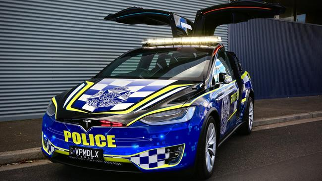 Victoria Police Tesla Model X highway patrol car.