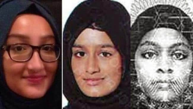 British teenagers Kadiza Sultana, 16, Shamima Begum, 15, and Amira Abase, 15, told their parents they were going to the library then fled to Syria to join IS. Picture: Supplied