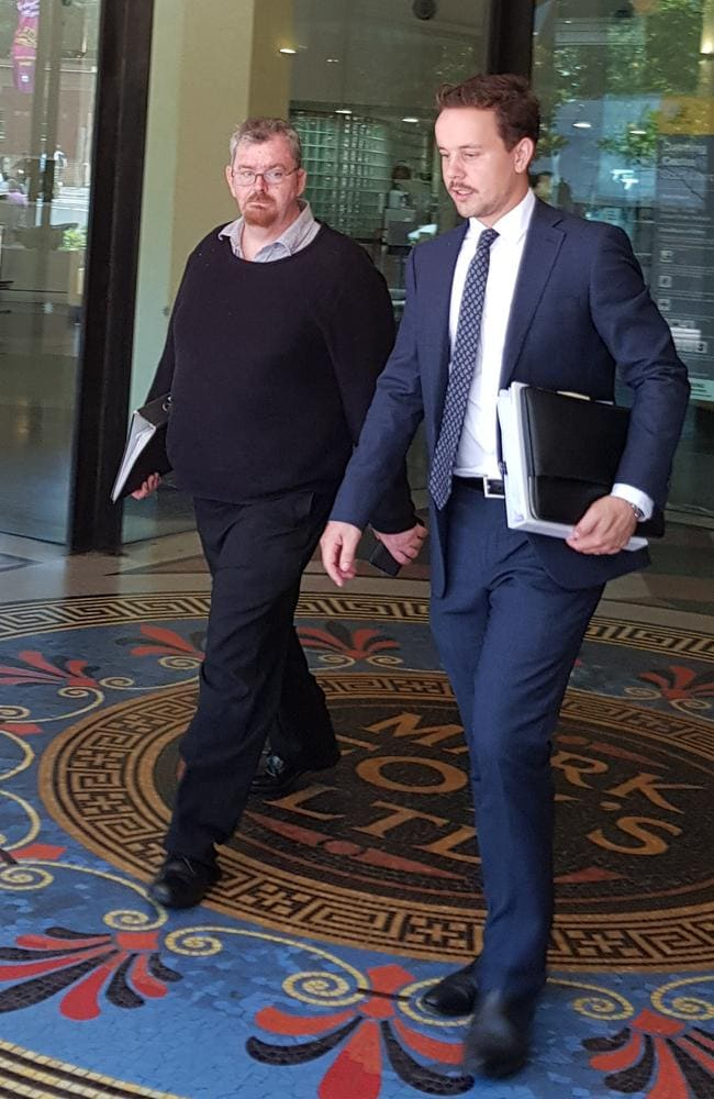 Serial child sex predator Christopher Winters (left) leaves court with lawyer James Lang (right). Picture: Candace Sutton