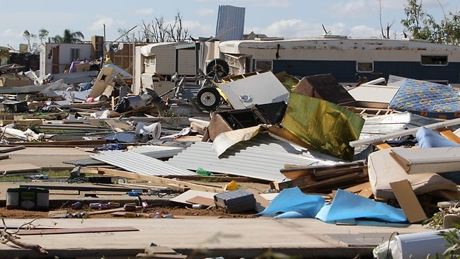 A series of tornadoes ripped through the Denison Caravan Park in Mulwala, NSW. Picture: Chris Scott