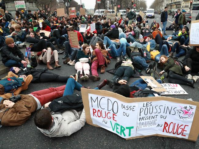 Students demonstrate in Paris on March 1, 2019 to protest against climate change, part of a Europe-wide movement that has seen walkouts across the continent. Picture: AFP