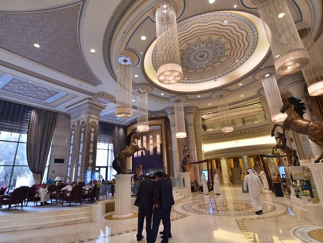 The Ritz-Carlton Hotel, where Trump stayed in Riyadh, has become a makeshift detention centre for the royals and billionaires. Picture: AFP PHOTO / GIUSEPPE CACACE