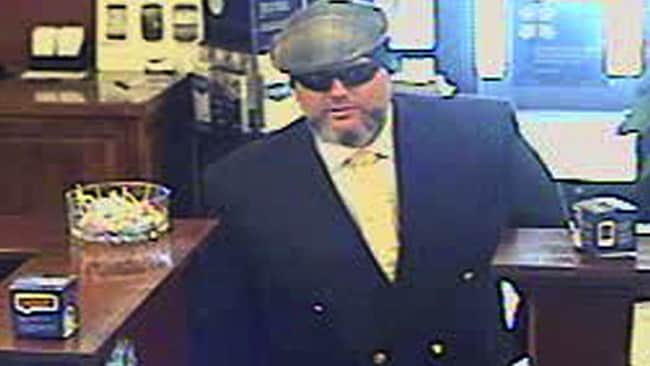 Corey Donaldson during a bank robbery on New Year's Eve 2012 at the U.S. Bank in Jackson, Wyoming. Picture: AP/Jackson Police Department.