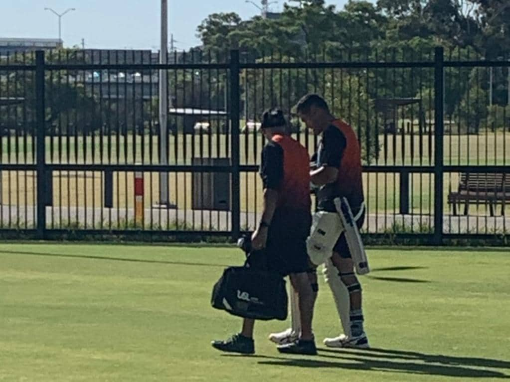Ross Taylor has left New Zealand training early after copping a nasty blow to his right hand. Photo: radiosportnz on Twitter