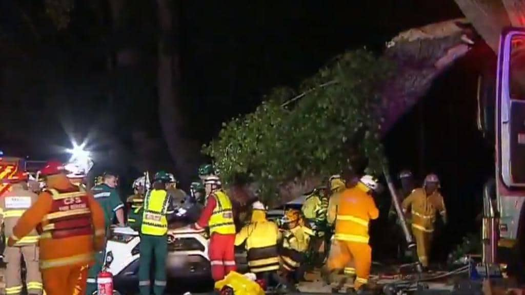 Emergency services workers are still working to clear the scene in Stirling in the Adelaide Hills. Picture: 9 News