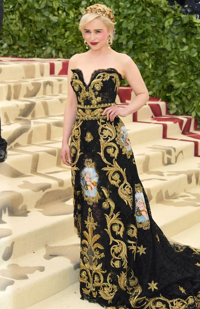 Emilia Clarke at the 2018 Met Gala, themed around Heavenly Bodies: Fashion & The Catholic Imagination. Picture: AFP