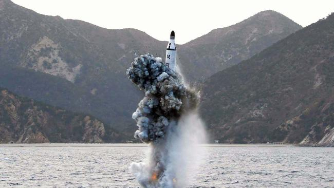 The rogue nation tested a strategic submarine ballistic missile in April last year. Picture: KNS