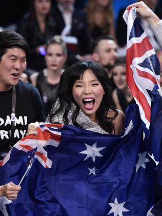 Dami Im celebrates reaching the final of Eurovision. Picture: AP