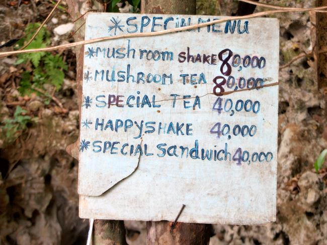 A menu advertising drugs in Laos. Picture: Christian Haugen