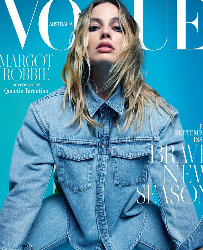 Margot's interviewed by Tarantino for the issue. Picture: Mario Sorrenti for Vogue Australia