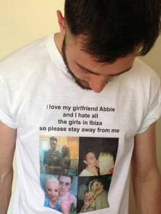 Novel way of telling the other sex to back off ... Leon Connolly in the T-shirt designed by his girlfriend and mother of their daughter, Abbie Bartlett. Picture: Abbie Bartlett