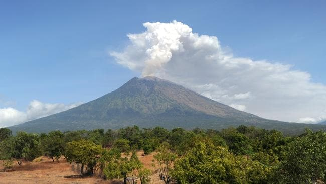 Mount Agung volcano has caused flight cancellations. Picture: AFP PHOTO / SONNY TUMBELAKA