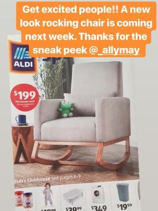 Aldi's new rocking chair is getting people 'excited'. Picture: Instagram/Aldi Lovers AU