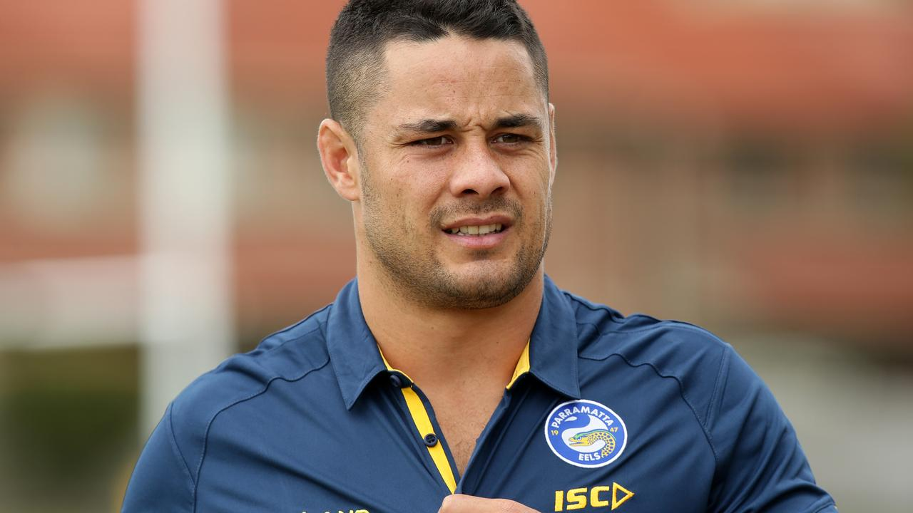 9fb57585b94 Jarryd Hayne during a media conference after his first official training  session with the Parramatta Eels