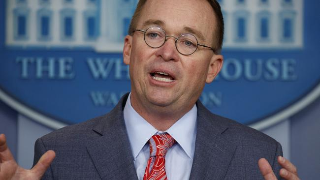 White House chief of staff Mick Mulvaney. He's the third person to hold that role under Mr Trump after Reince Priebus and John Kelly. Picture: Evan Vucci/AP