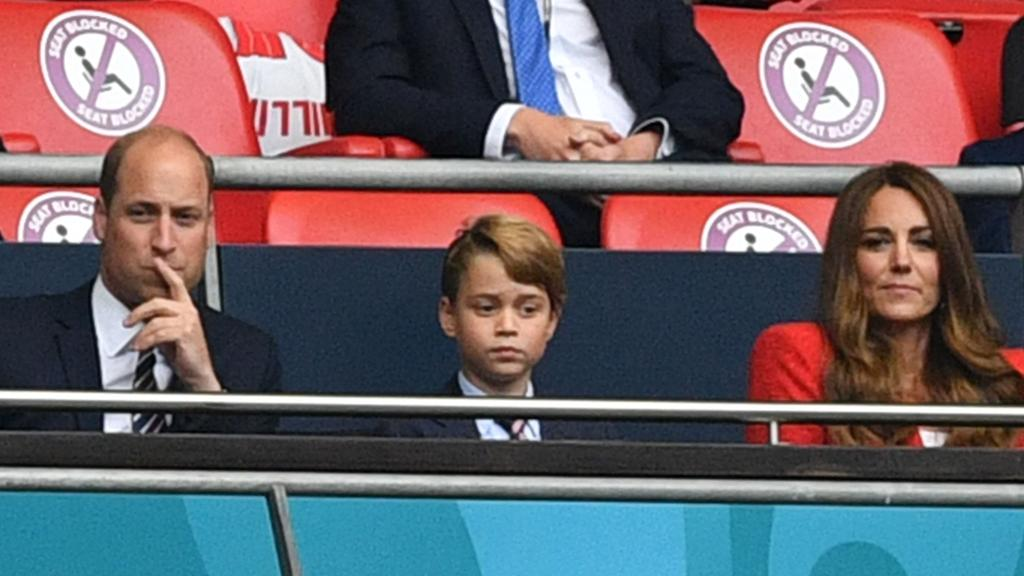 The trio watched a match between England and Germany at Wembley Stadium in London on June 29, 2021. Picture: Justin Tallis/Pool/AFP
