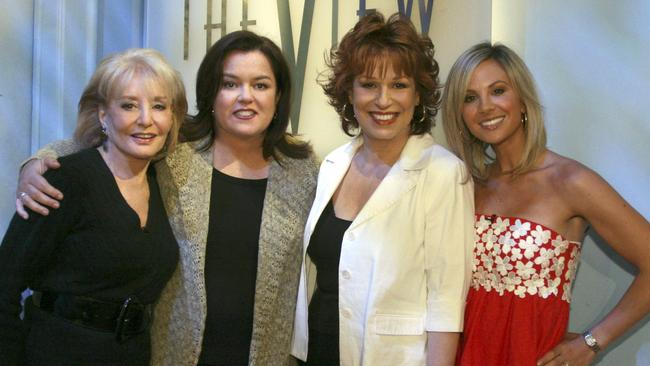 All smiles: The View panellists (l-r) Barbara Walters, Rosie O'Donnell, Joy Behar and Elisabeth Hasselbeck in 2007.