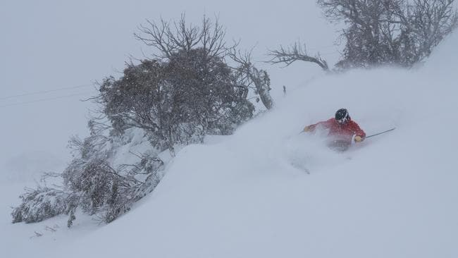 Snowfall is set to significantly ease by the long weekend Picture: Perisher Resorts