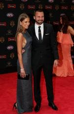 Jarryn Geary of St Kilda and Emma Giles on the Brownlow red carpet.