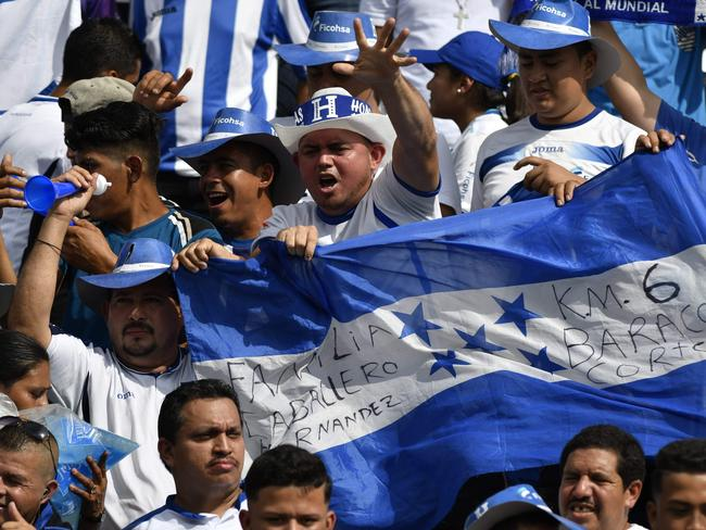 Honduras fans in the stands in San Pedro Sula.