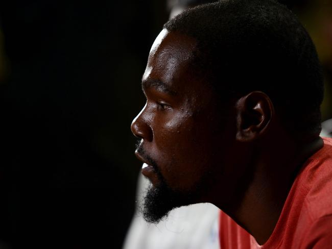Kevin Durant looks on during a press conference in India.