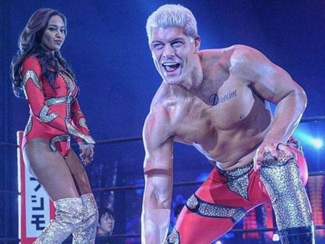 Cody Rhodes with wife Brandi at Wrestle Kingdom 12 in the Tokyo Dome.