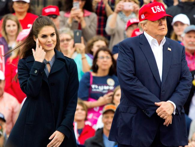 Donald Trump (R) and then press secretary Hope Hicks in 2016. Picture: AFP