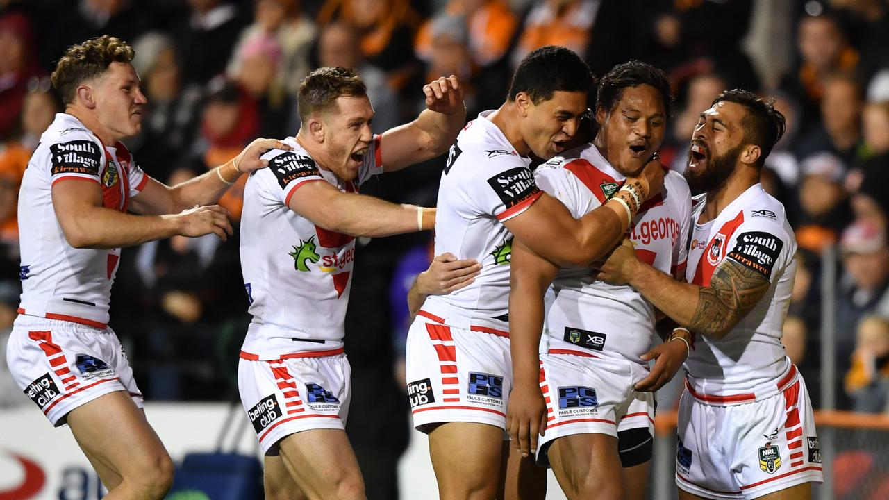 Luciano Leilua scores a try against the Wests Tigers. Pic: Joel Carrett.