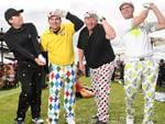 Golfers Aaron Spalding, Will Stubbs, Richard Maxwell and Tony Webeck at the 2016 Melbourne Cup. Picture: Jake Nowakowski