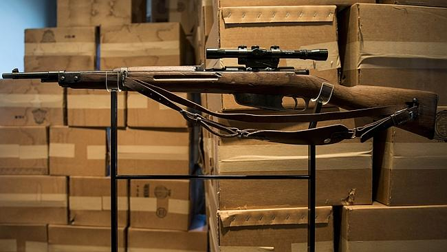 A Carcano Model 91/38 rifle in the Sixth Floor Museum, which is dedicated to the history behind the assassination of US President John F. Kennedy. Picture: AFP PHOTO / Brendan SMIALOWSKI