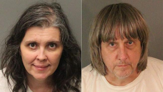 Louise Turpin, a housewife, and David Turpin, an engineer, after their arrest. Picture: AFP/Riverside County Sheriff's Department/Jose Romero