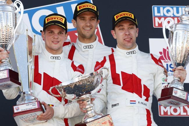 Leonard, Vanthoor and Frijns celebrate their victory, holding the Australian Tourist Trophy.