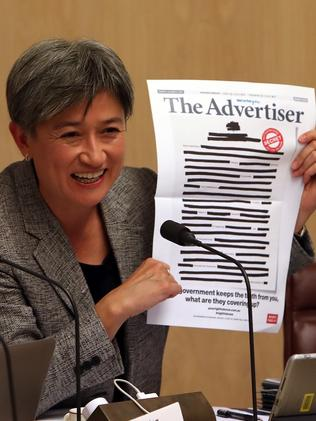 Senator Penny Wong grilled Finance Minister Mathias Cormann about communications between Australia and US governments about the Syria-Turkey conflict. Picture: Kym Smith