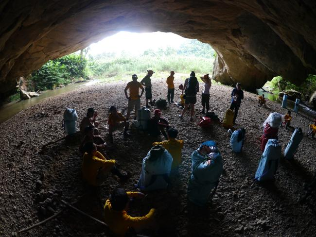 Explorers inside the cave. Picture: Bart Jellema