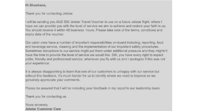 The letter Ms Strykert received from Jetstar.