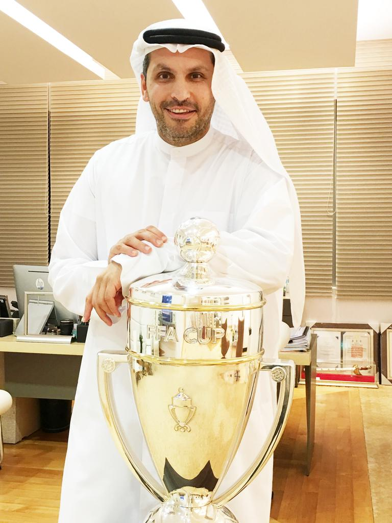 City Football Group Chairman Khaldoon Al Mubarak with the 2016 FFA Cup at his office in Abu Dhabi