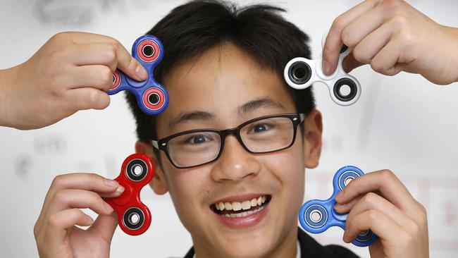 Joshua Choong 14, has won a national maths competition for his complicated sums using fidget spinners. Picture: David Caird