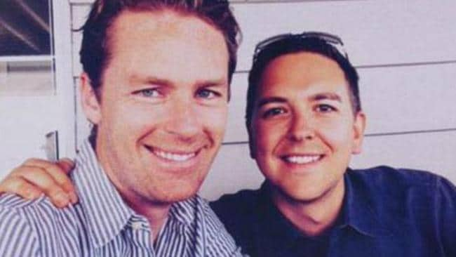 Lindt Cafe manager Tori Johnson before he was killed in the 2014 siege and his partner Thomas Zinn.