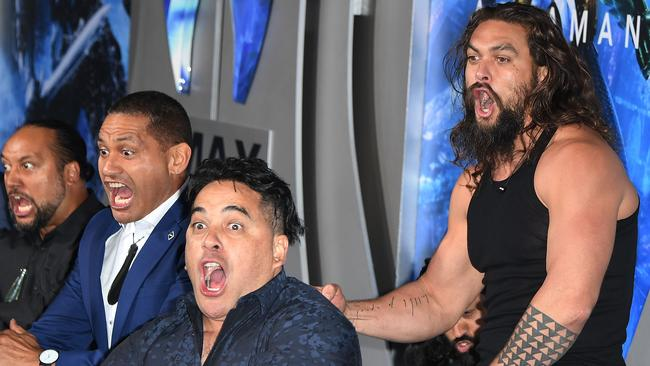 Momoa even broke his trident while dancing. Picture: AFP